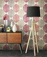 Tapete Natur Modern Rot Blumen Floral | schöne edle Tapete im natürlichen Design | moderne 3D Optik für Wohnzimmer, Schlafzimmer oder Küche inkl. Newroom-Tapezier-Profibroschüre mit super Tipps!