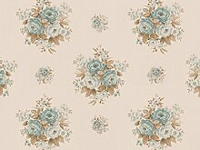 Tapete Rasch Textil Blumen creme blau Tradizionale 8005