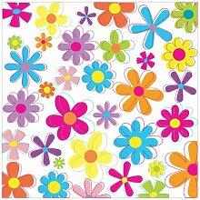 Tapete Retro Blumen Quadrat