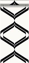 Tapete Retro-Ornamente Schwarz und Weiß - 135445