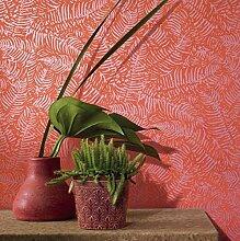 Tapete Rot Koralle mit Position von glänzenden Blättern für Möbel in allen Stilen. Panama Pana 81083613