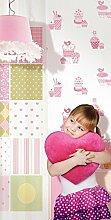 Tapete Schlafzimmer Mädchen mit Zeichnungen von Süßigkeiten Rosa auf Boden Weiß 03264
