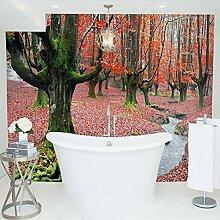 Tapete Schöne Rote Ahorn Baum Wald Natur 3D