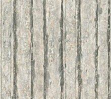 Tapete SCHÖNER WOHNEN Holz Brett Shabby Vintage dunkelgrau 32706-2