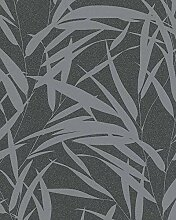 Tapete Schwarz Silber Grafisch Floral Sträucher