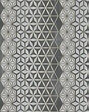 Tapete Schwarz, Silber Grafisch - für Wohnzimmer,