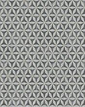 Tapete Schwarz Silber Grafisch für Wohnzimmer