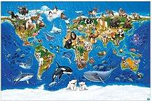 Tapete selbstklebend Kinderzimmer - Weltkarte mit