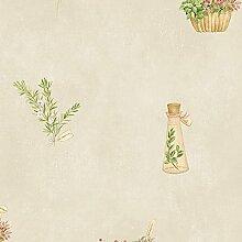 Tapete Shabby Chic Floral Drucken mit Posies von Blumen und Korb voller Blumen aus Vinyl Super waschbar Design Klassisch Floral Country Boden beige und Position Grün Pink Gelb ideal für alle Räume insbesondere Küche fk34430Fresh Kitchens 5.