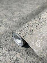 Tapete Silber Betonoptik Struktur Vliestapete für
