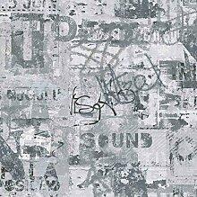 Tapete Sound schwarz-weiß, 53cm x 10,05m, Papiertapete, Rapportversatz: 26,50 cm waschbeständig, Lichtechtheit: gut, Verarbeitung: Klebstoff auf Wandbekleidung, Entfernung: naß zu entfernen, Musteransatz: versetzter Ansatz, Entflammbarkeit: normal entflammbar nach DIN EN 13501 D-s3 d0