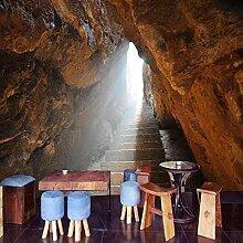 Tapete Steinwand Höhle 3D Wandbild Retro