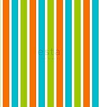 Tapete Streifen Lindgrün und Orange - 114627 - von ESTAhome.nl