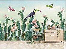 Tapete Tapete Kaktus Pflanze Und Rosa Blumen