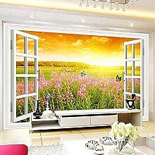 Tapete Tapete Wandbild Weißes Fenster in Blume in