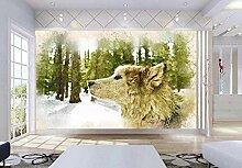 Tapete Tier Hand Gezeichnet Wolf Tier 3D