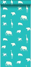 Tapete Tiere Türkis - 137337 - von ESTAhome.nl