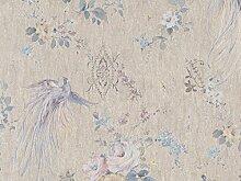 Tapete Vintage Blumen mit Vogel Stickerei mit Glitter grün Wasser Hellblau Pink ocker aus Vinyl waschbar z6832Paradies Zambaiti Tapete.