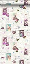 Tapete vintage Postkarten Rosa und Türkis -