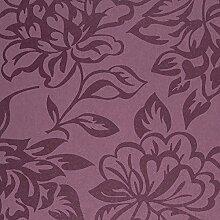 Tapete violett mit Blumen glänzend modernes
