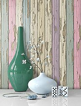 Tapete Vlies Holz Muster in Pastell Farben |