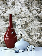 Tapete Vlies in Fell-Optik Beige Schwarz Weiß | schöne, moderne, edle Design-Tapete | für Wohnzimmer, Schlafzimmer oder Küche inklusive Newroom Tapezier-Profibroschüre mit Tipps für perfekte Wände