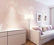 Tapete Vlies Ländliche Blume Emboss 3D Pink