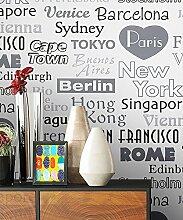 Tapete Vlies Schwarz Weiß Grau Metropole Städte | schöne edle Tapete im natürlichen Design | moderne Optik für Wohnzimmer, Schlafzimmer oder Küche inkl. Newroom Tapezier Profibroschüre mit super Tipps