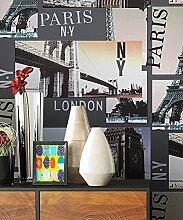 Tapete Vlies Stadt Bilder London Paris NY | schöne edle Tapete im natürlichen Design | moderne Optik für Wohnzimmer, Schlafzimmer oder Küche inkl. Newroom Tapezier Profibroschüre mit super Tipps!