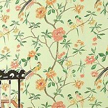 Tapete Vlies tapete Blumen Baum mit Vögel Vintage Stil 53*1000cm Wandtapete 6061 , light green