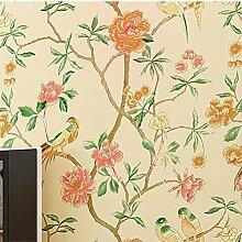 Tapete Vlies tapete Blumen Baum mit Vögel Vintage Stil 53*1000cm Wandtapete 6061 , Yellow