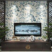 Tapete Vlies tapete Blumen Baum mit Vögel Vintage Stil 53*1000cm Wandtapete 3-71 , light blue