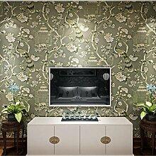 Tapete Vlies tapete Blumen Baum mit Vögel Vintage Stil 53*1000cm Wandtapete 3-71 , Green