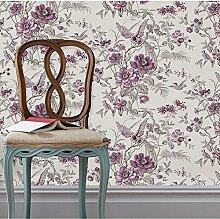 Tapete Vliestapete Fototapete Blumen Baum mit Vögel Vintage Stil 53*1000cm Wand tapete Wandbilder , 4