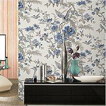 Tapete Vliestapete Fototapete Blumen Baum mit Vögel Vintage Stil 53*1000cm Wand tapete Wandbilder , 2
