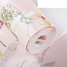 Tapete/Vliestapete/Kinder Zimmer Schlafzimmer Tapeten/Cartoon Hintergrundbilder schöne rosa/Ballett Mädchen Wallpaper-B