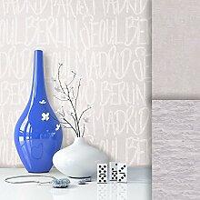 Tapete Vliestapete mit Stadt Namen Edel Uni , schönes modernes Design mit Luxus Effekt , moderne Optik für Wohnzimmer, Schlafzimmer, Flur oder Küche inkl.Newroom Tapezier Profibroschüre mit super Tipps!