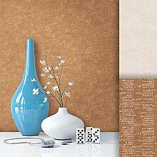 Tapete Vliestapete Uni Braun Edel , schönes modernes Afrika Design mit Luxus Effekt , moderne 3D Optik für Wohnzimmer, Schlafzimmer, Flur oder Küche inkl.Newroom Tapezier Profibroschüre mit super Tipps!