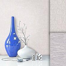 Tapete Vliestapete Uni Grau Creme Edel , schönes modernes Design mit Luxus Effekt , moderne Optik für Wohnzimmer, Schlafzimmer, Flur oder Küche inkl.Newroom Tapezier Profibroschüre mit super Tipps!