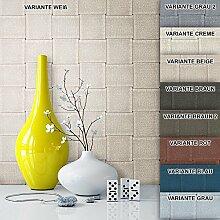 Tapete Vliestapete Weiß Creme Landhaus Optik , schöne, edle Tapete im modernen Design , für Wohnzimmer, Schlafzimmer oder Küche inklusive Newroom Tapezier Profibroschüre mit Tipps für perfekte Wände