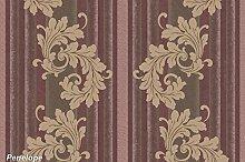Tapete vom Design mit Hintergrund gerillt Effekt Stoff Farben violett und Pflaume und Position oben Damast Taupe Dunkel. Penelope 7208