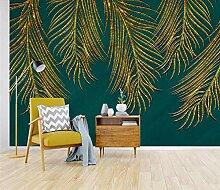 Tapete Wandbild 3D Fototapete Goldene Blätter