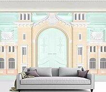 Tapete Wandbild 3D Tapete Rosa Gebäude Mädchen