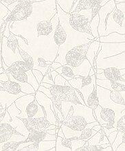 Tapete weiß mit Blätter Perle auf Effekt Stoff