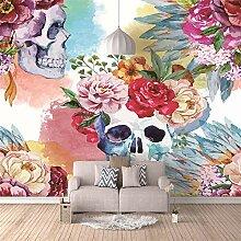 Tapete Weißer Schädel mit farbigen Blumen 150 x
