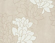 Tapete Zeitgenössisch Blumen mit Kamelien Milch und Boden Haselnuss taupe. Flow 85912.
