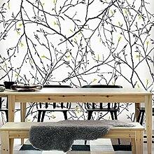 Tapete Zweige in Schwarz mit Blättern grün apfel auf Boden Weiß aus Vinyl waschbar Effekt Stoff Impression 41956.