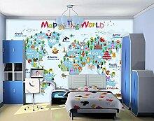Tapeten 3D Diy Tapete Cartoon-Weltkarte Für Flur
