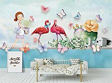 Tapeten 3D Flamingo Blume Tapete Mural Für