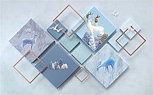 Tapeten 3D Seide Tapete Einfacher polygonaler Elch